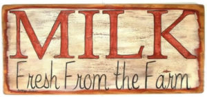 Fresh Milk wooden sign